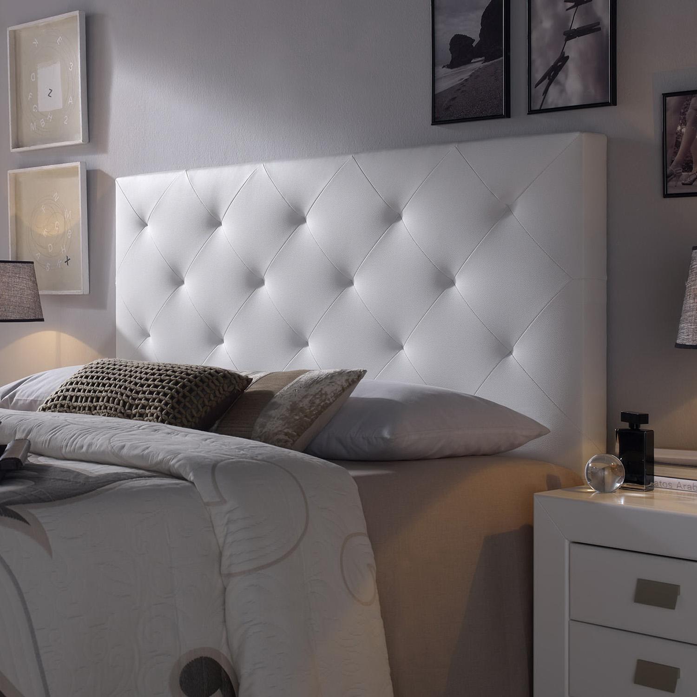 Cabecero-cama-matrimonio-cabezal-tapizado-ROMBO-150x60-Blanco-Polipiel