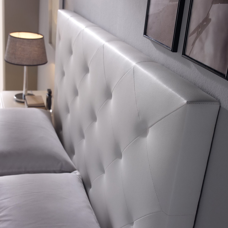 Cabecero-cama-matrimonio-cabezal-tapizado-ROMBO-150x60-Blanco-Polipiel miniatura 2